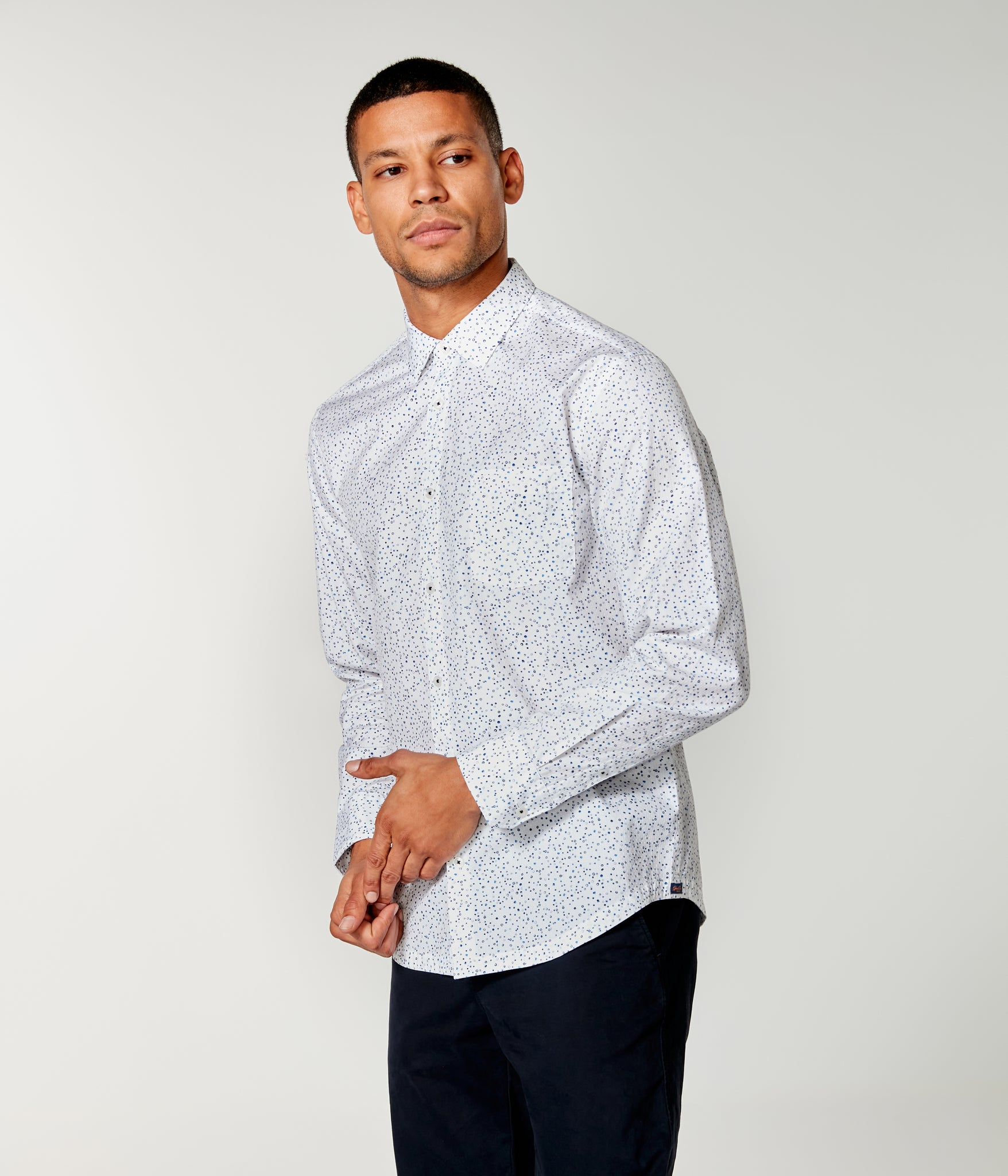 On-Point Print Shirt - White Micro Dot