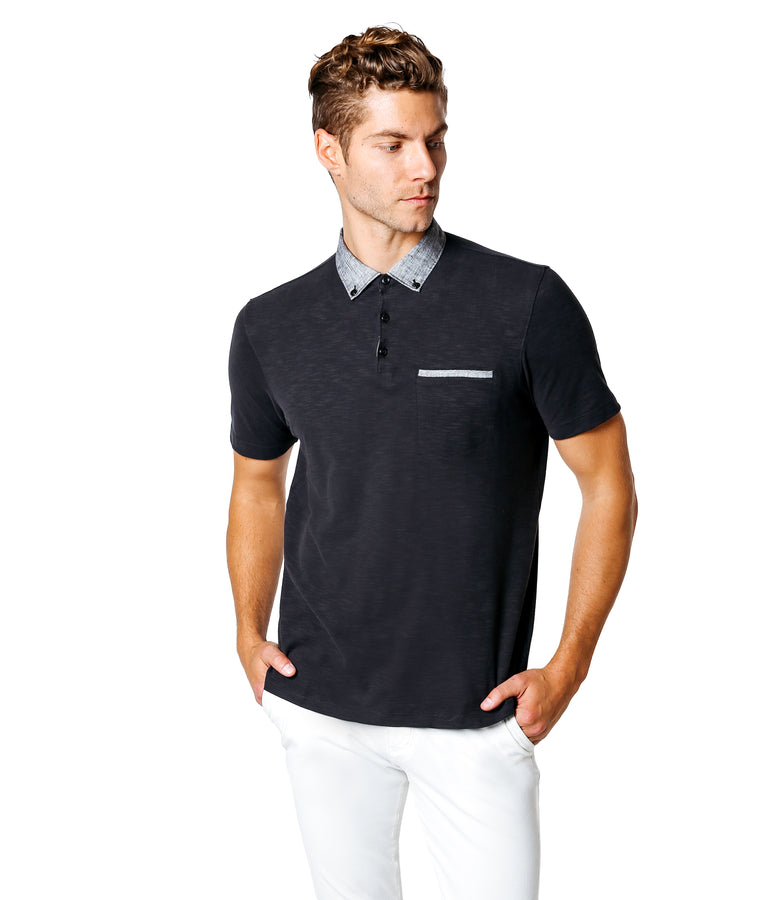 Soft Slub Jersey Polo - Black - Good Man Brand
