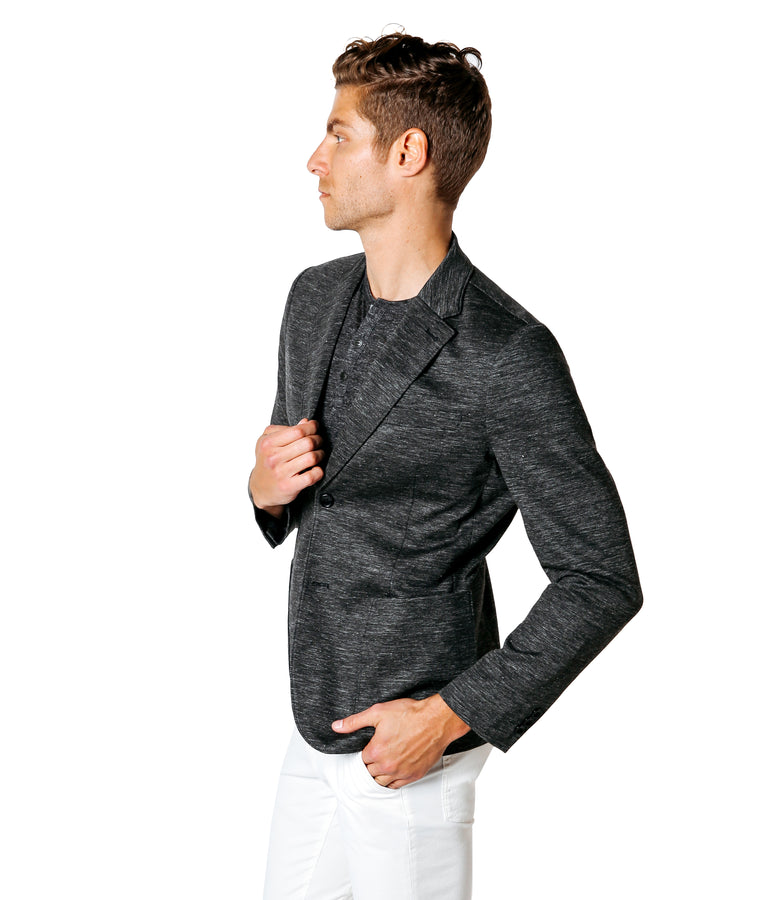 Soft Linen Tech Ponte Blazer - Charcoal Heather/Grey Heather - Good Man Brand