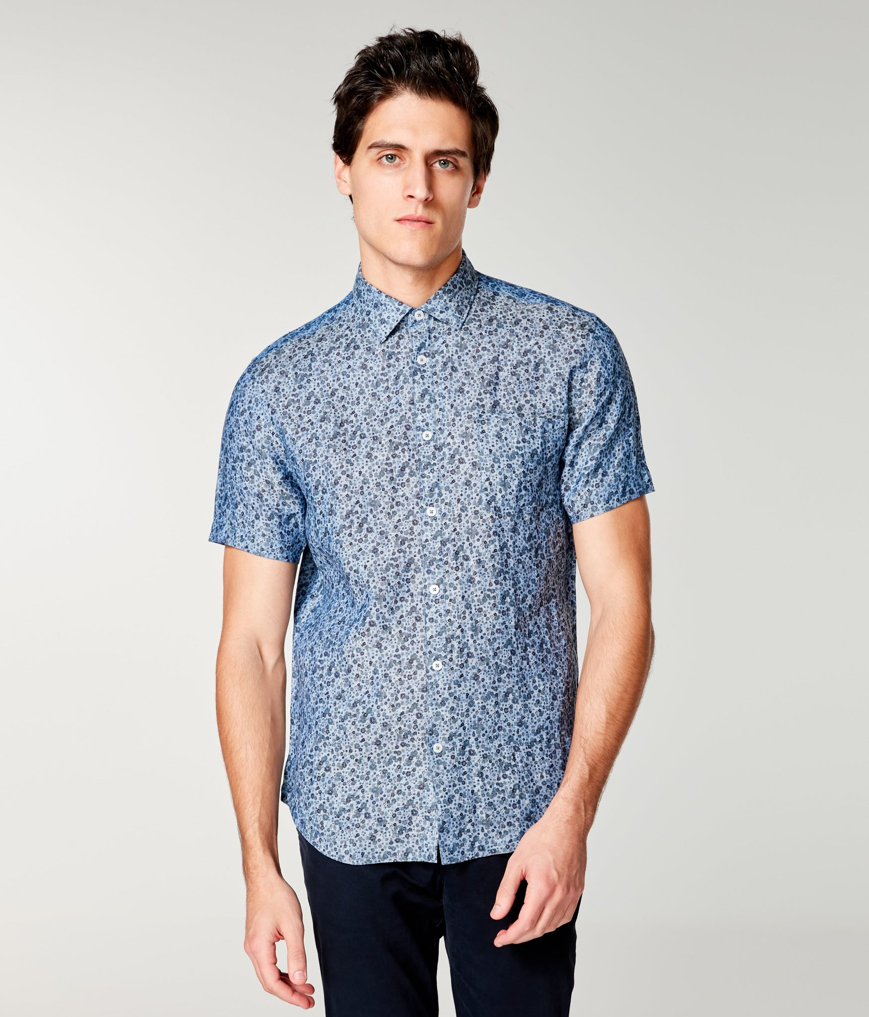 Linen On-Point Print Shirt Short Sleeve - Blue Topaz Daisy Play