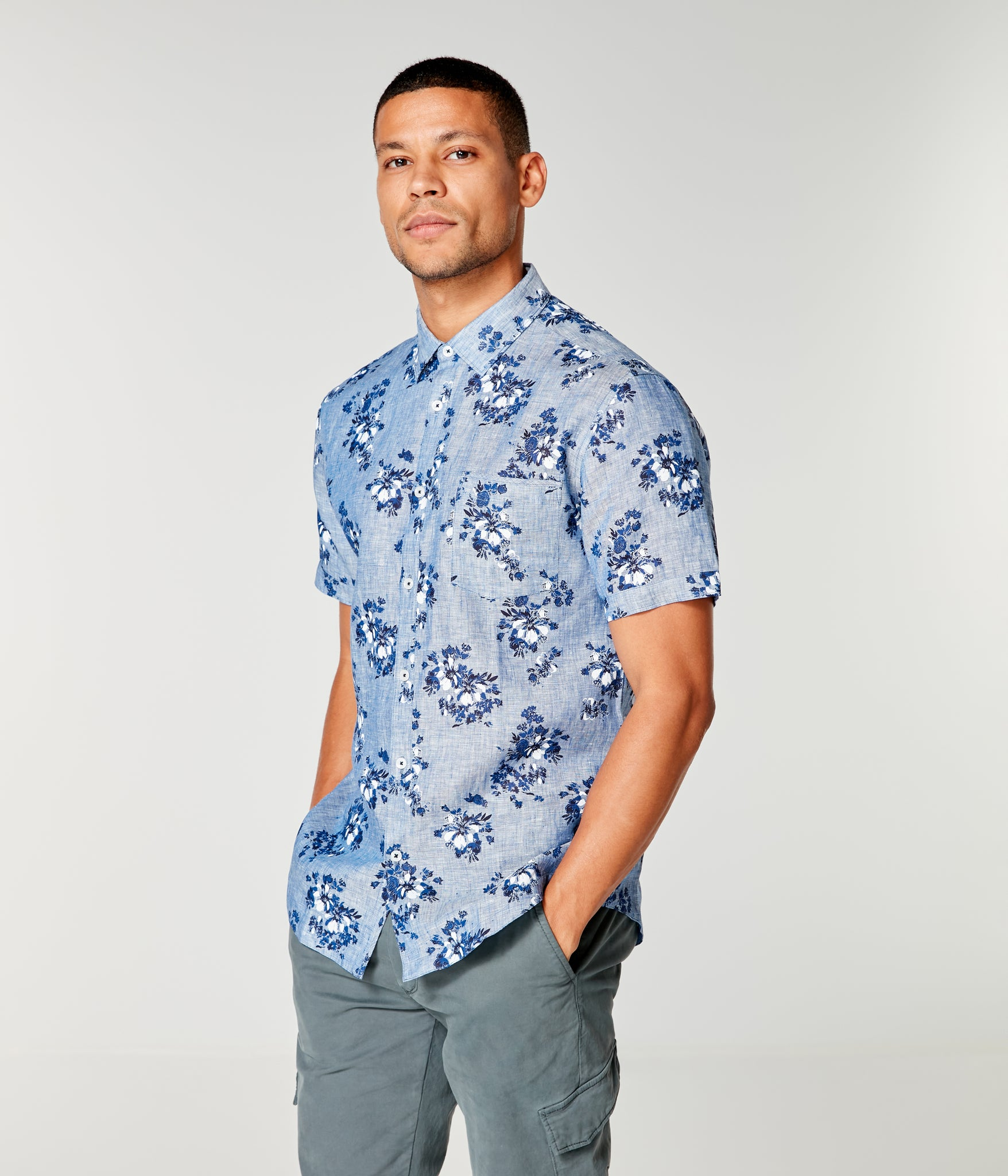 Linen On-Point Shirt - Indigo Tulum Floral
