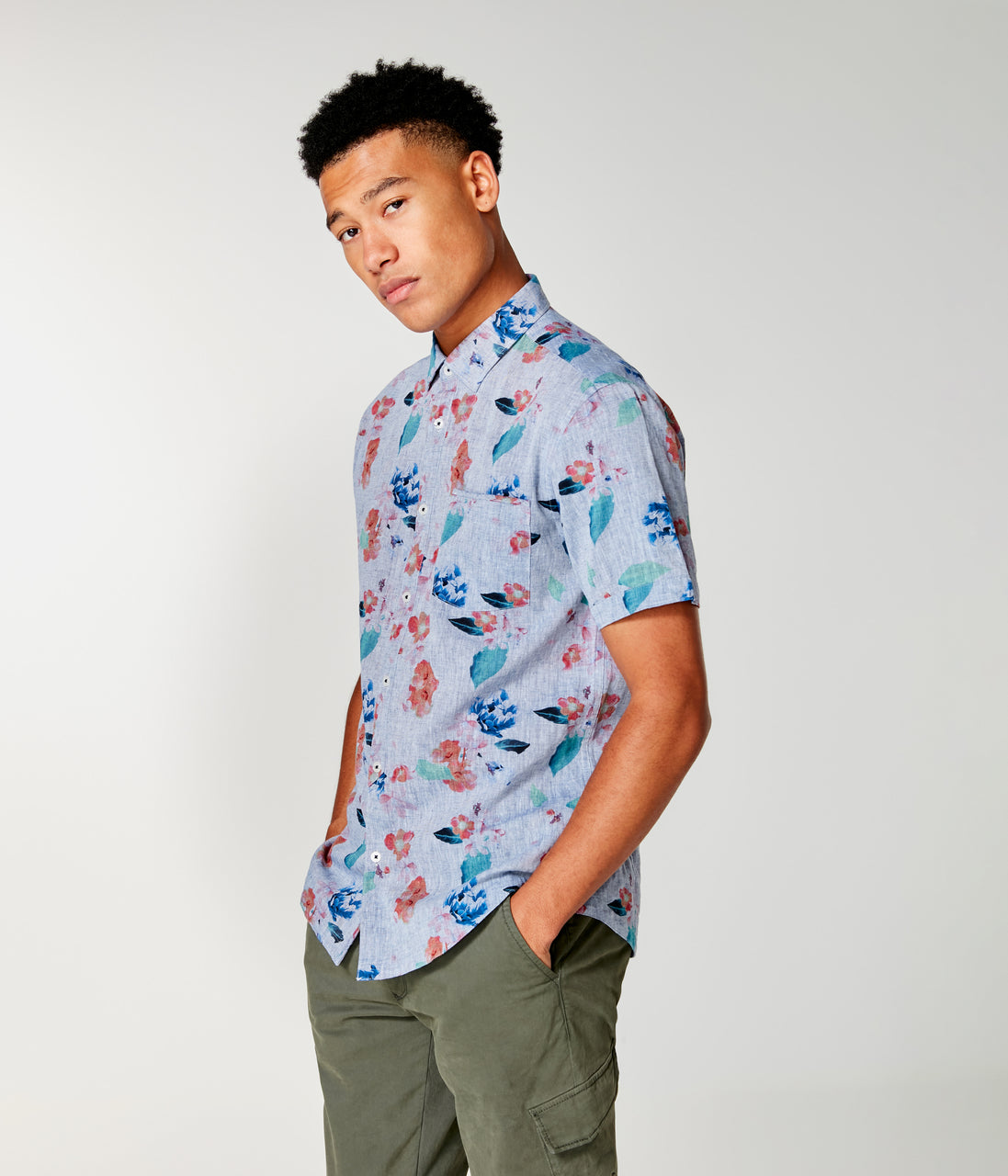 Linen On-Point Shirt - Indigo Amalfi Floral - Good Man Brand - Linen On-Point Print Shirt Short Sleeve - Indigo Amalfi Floral
