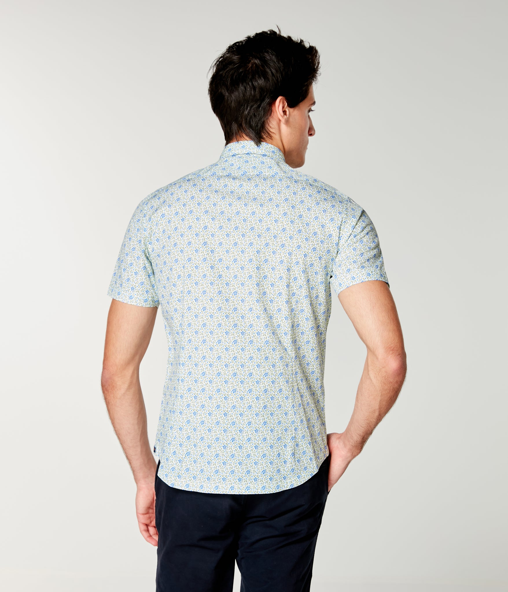 On-Point Print Shirt Short Sleeve - Blue Daisy