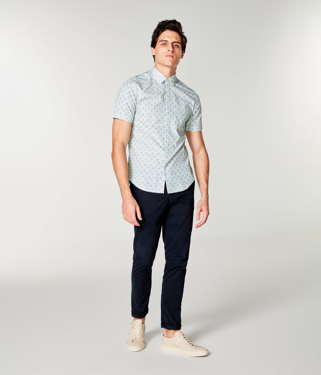 Woven On-Point Shirt - Blue Daisy - Good Man Brand - On-Point Print Shirt Short Sleeve - Blue Daisy