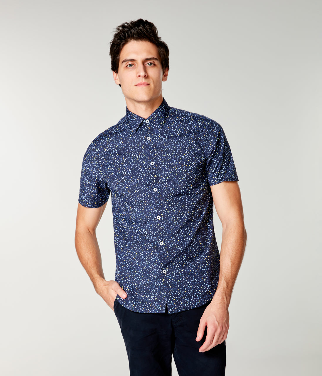 Woven On-Point Shirt - Blue Topaz Micro Dot - Good Man Brand - On-Point Print Shirt Short Sleeve - Blue Topaz Micro Dot