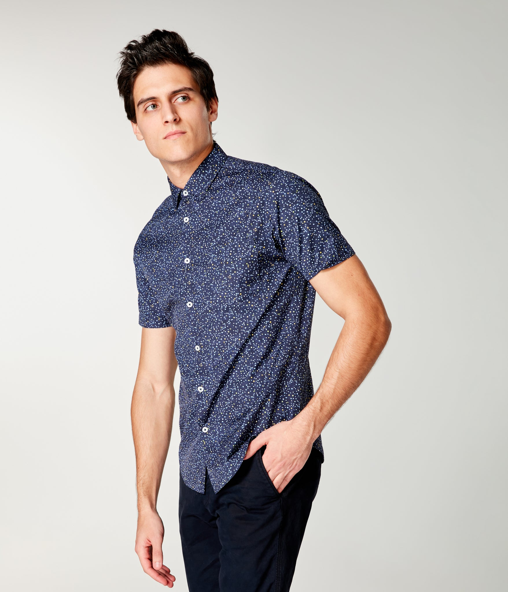 On-Point Print Shirt Short Sleeve - Blue Topaz Micro Dot