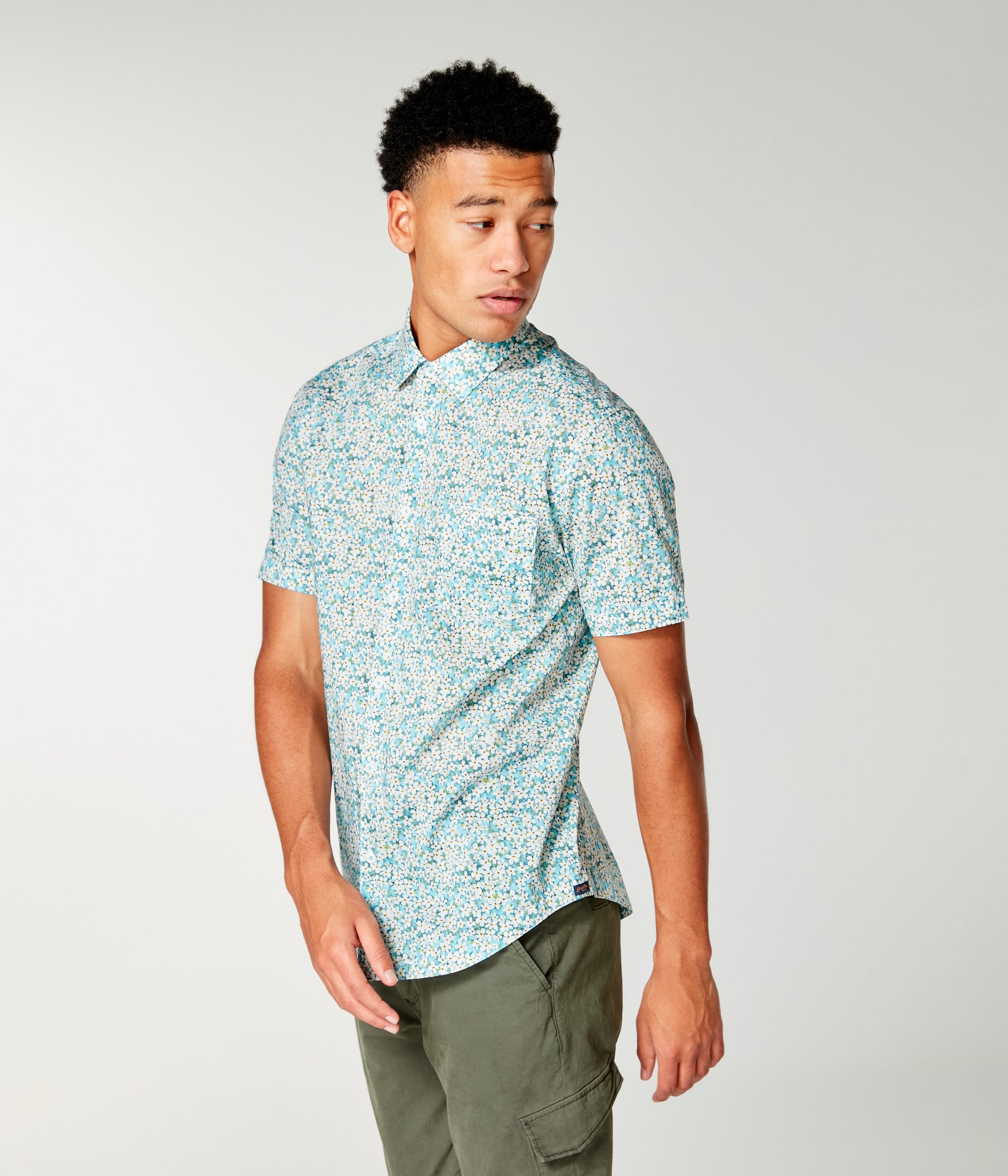 On-Point Print Shirt Short Sleeve - Blue Topaz Liberty Pond