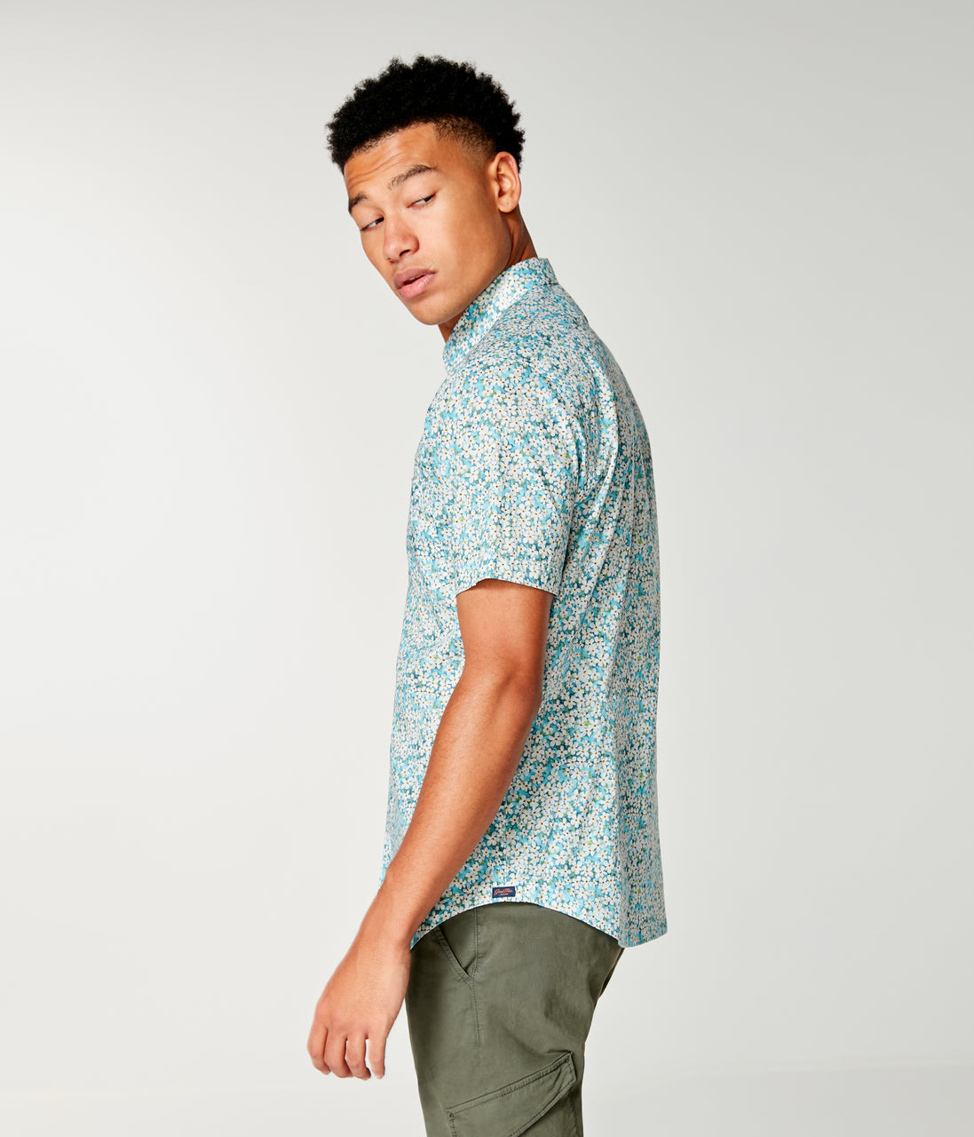 Woven On-Point Shirt - Blue Topaz Petal Liberty - Good Man Brand - On-Point Print Shirt Short Sleeve - Blue Topaz Liberty Pond