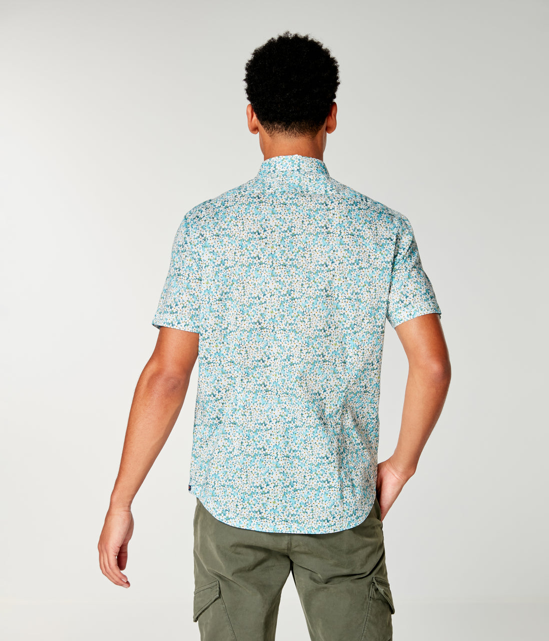 On-Point Print Shirt Short Sleeve - Blue Topaz Liberty Pond - Good Man Brand - On-Point Print Shirt Short Sleeve - Blue Topaz Liberty Pond