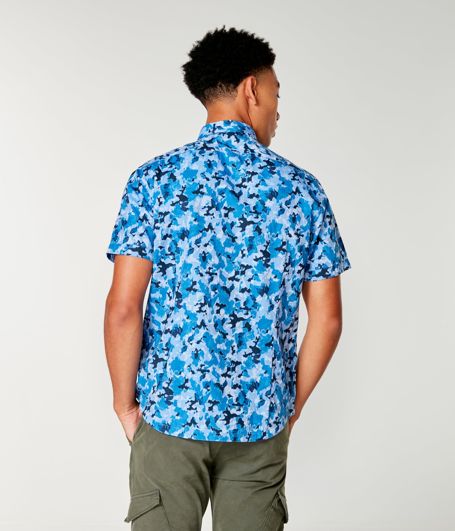 Woven On-Point Shirt - Indigo Mix Cayman Camo