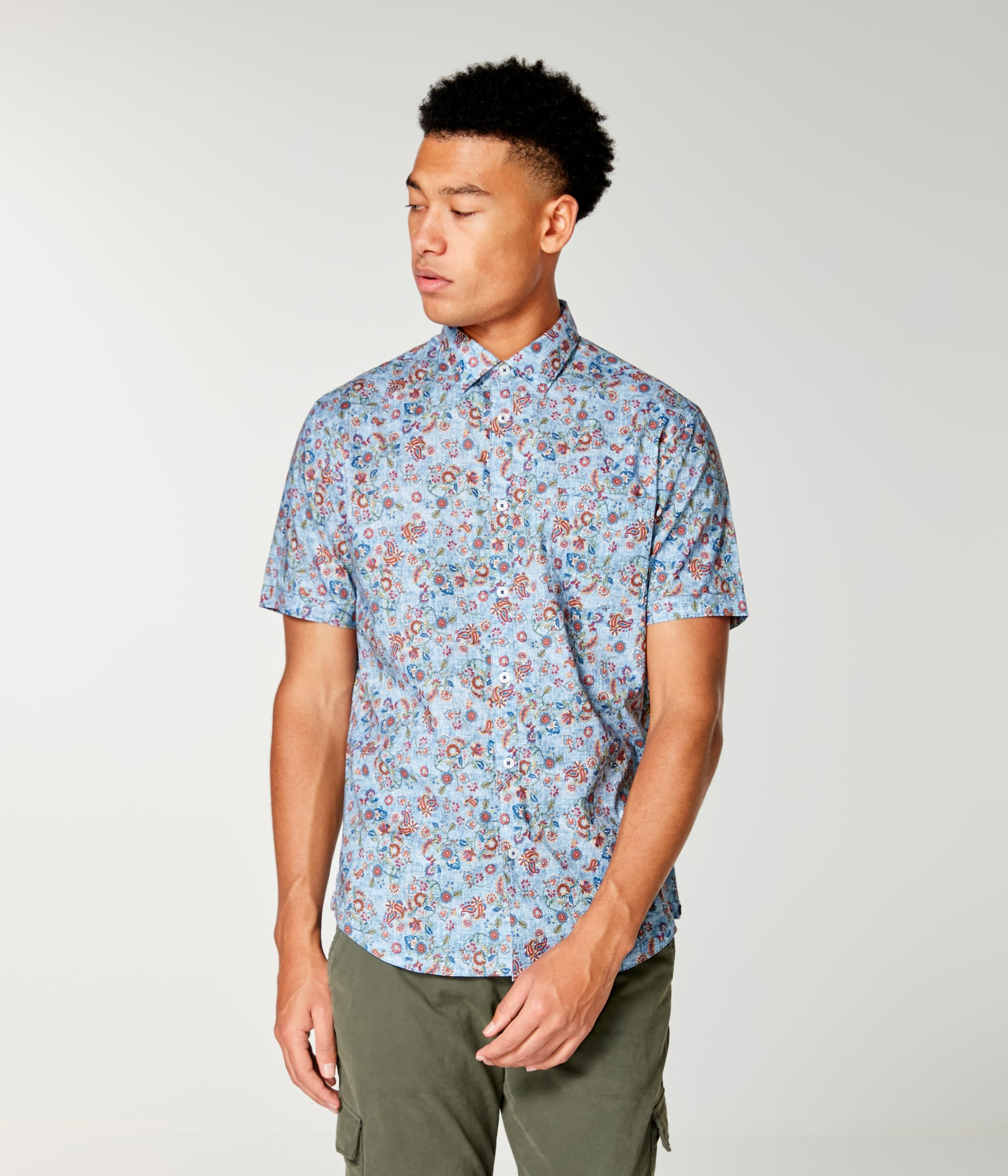 On-Point Print Shirt Short Sleeve - Indigo Asia Floral