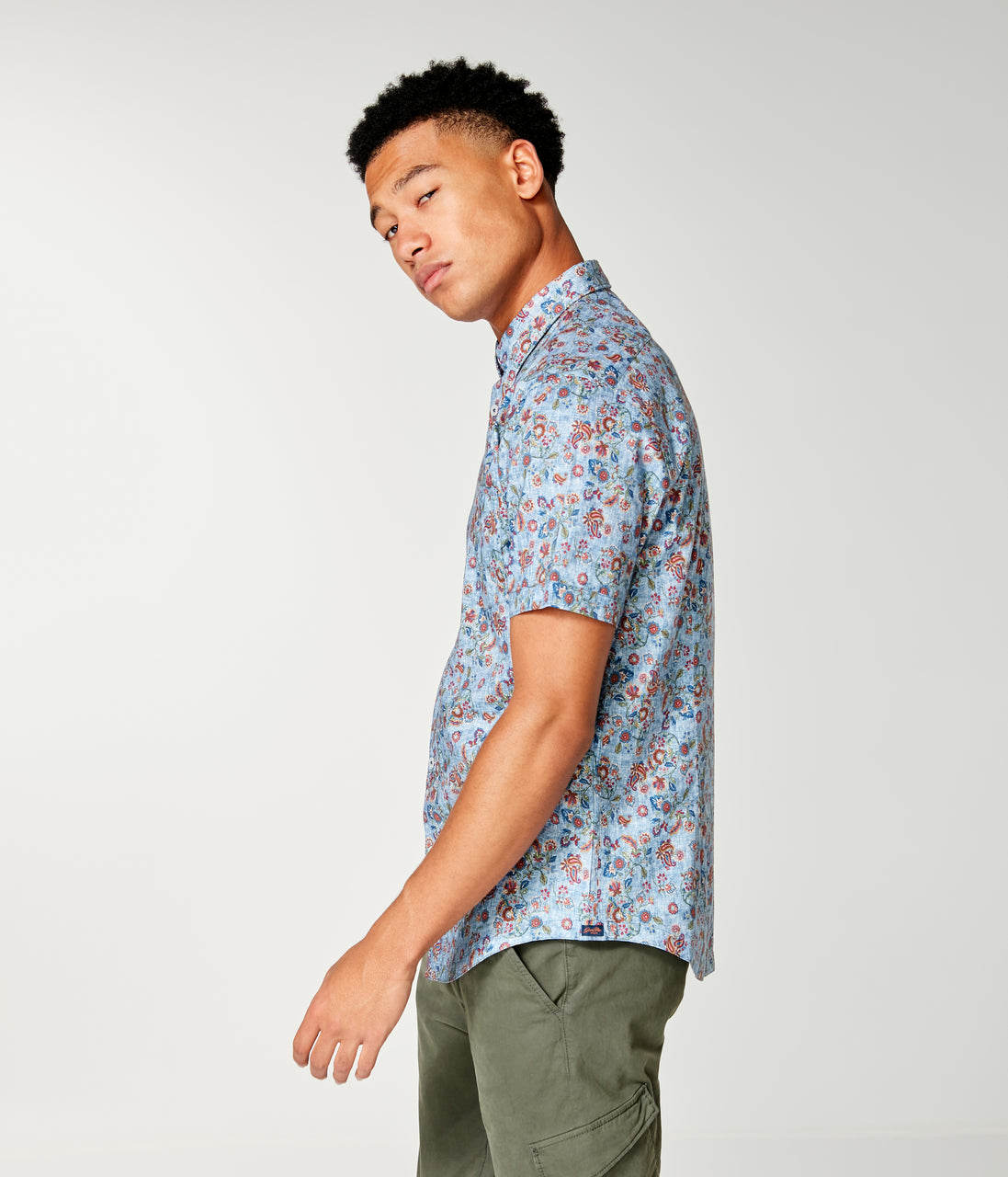 Woven On-Point Shirt - Indigo Asia Floral - Good Man Brand - On-Point Print Shirt Short Sleeve - Indigo Asia Floral
