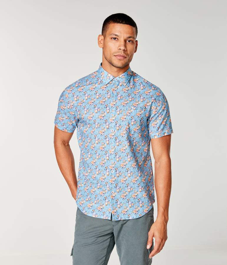 On-Point Print Shirt Short Sleeve - Indigo Vintage Morning Floral - Good Man Brand