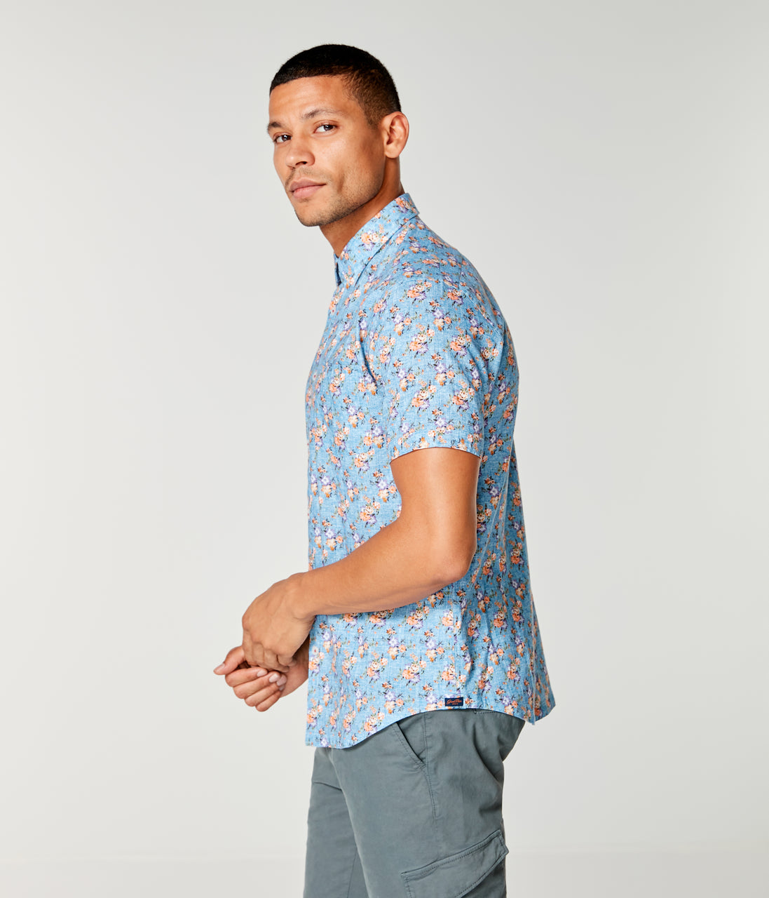 Woven On-Point Shirt - Indigo Vintage Morning Floral - Good Man Brand - On-Point Print Shirt Short Sleeve - Indigo Vintage Morning Floral