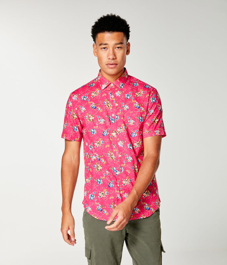 On-Point Print Shirt Short Sleeve - Jazzy Monarch Floral - Good Man Brand