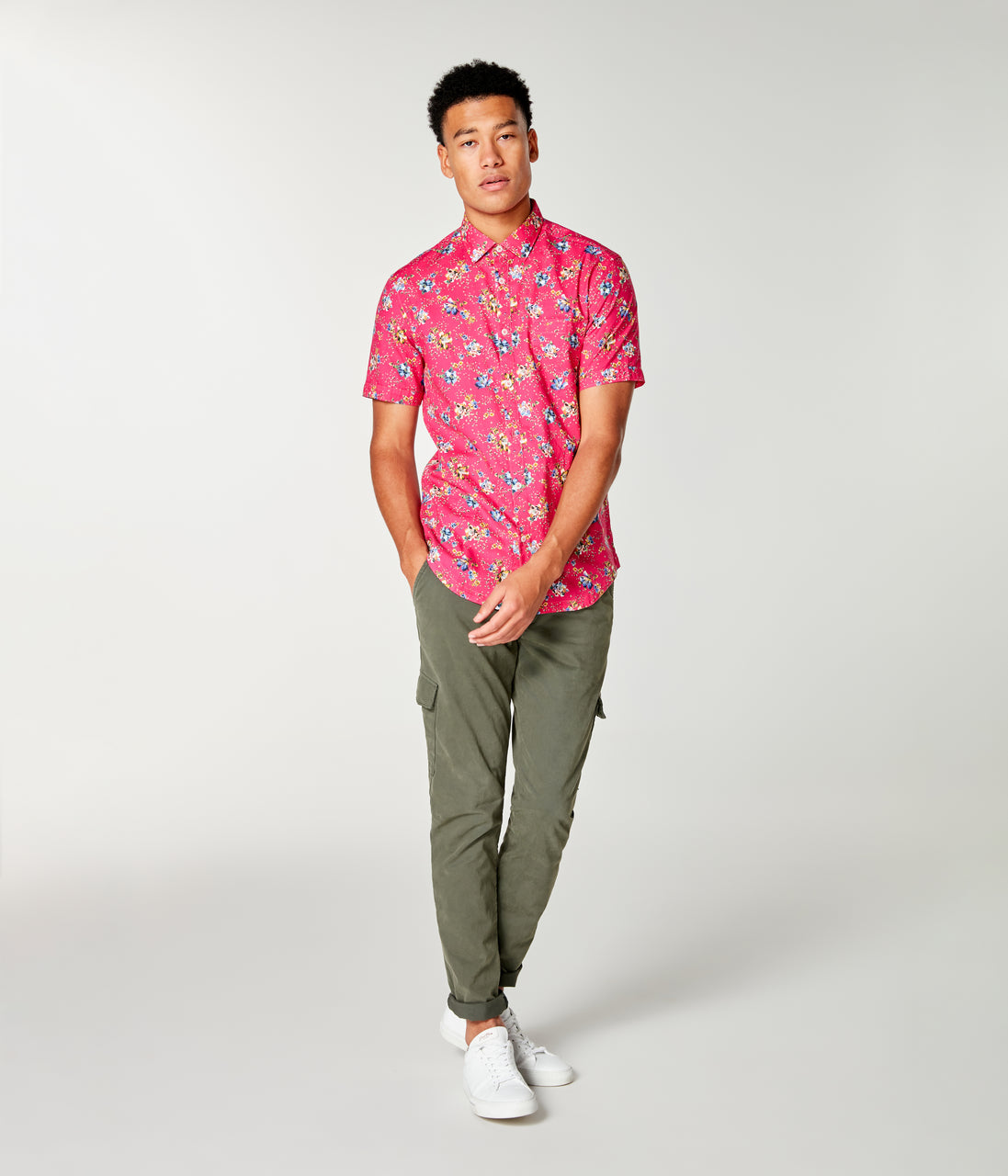 Woven On-Point Shirt - Jazzy Monarch Floral - Good Man Brand - On-Point Print Shirt Short Sleeve - Jazzy Monarch Floral