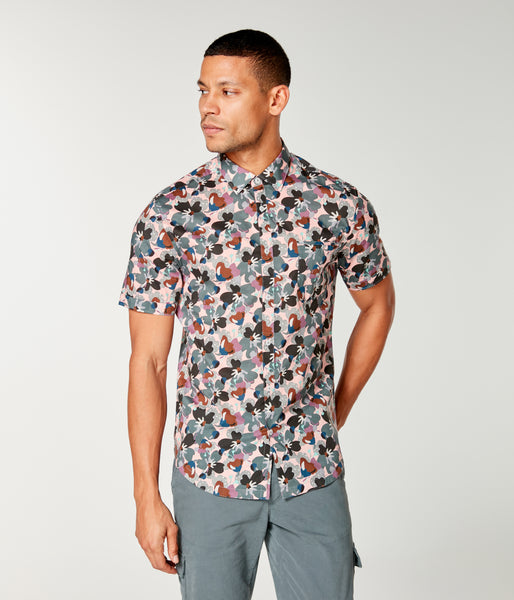 On-Point Print Shirt Short Sleeve - Blue Topaz Liberty Pond - Good Man Brand -