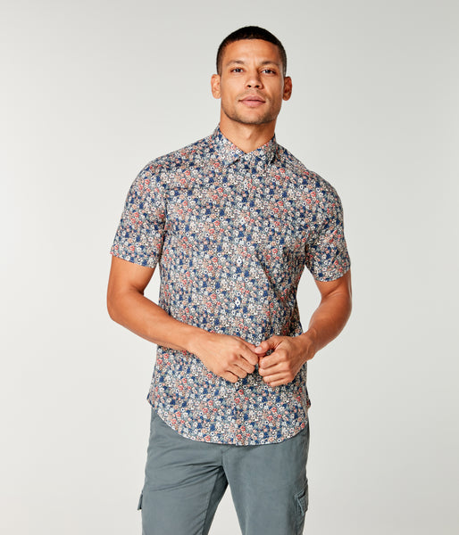 On-Point Print Shirt Short Sleeve - Rose Aloha Liberty Camo - Good Man Brand -