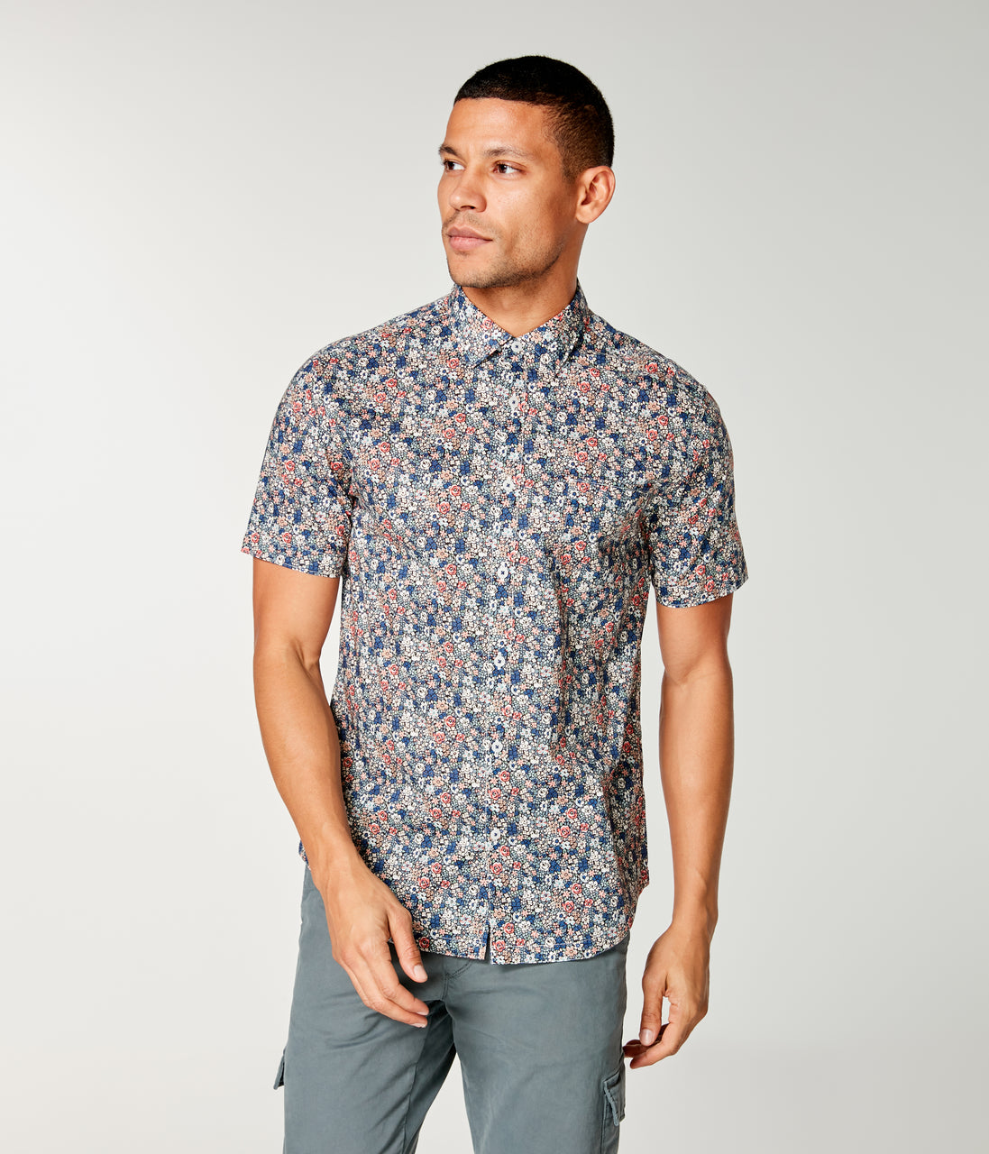 Woven On-Point Shirt - Sunset St. Tropez Floral - Good Man Brand - On-Point Print Shirt Short Sleeve - Sunset St. Tropez Floral