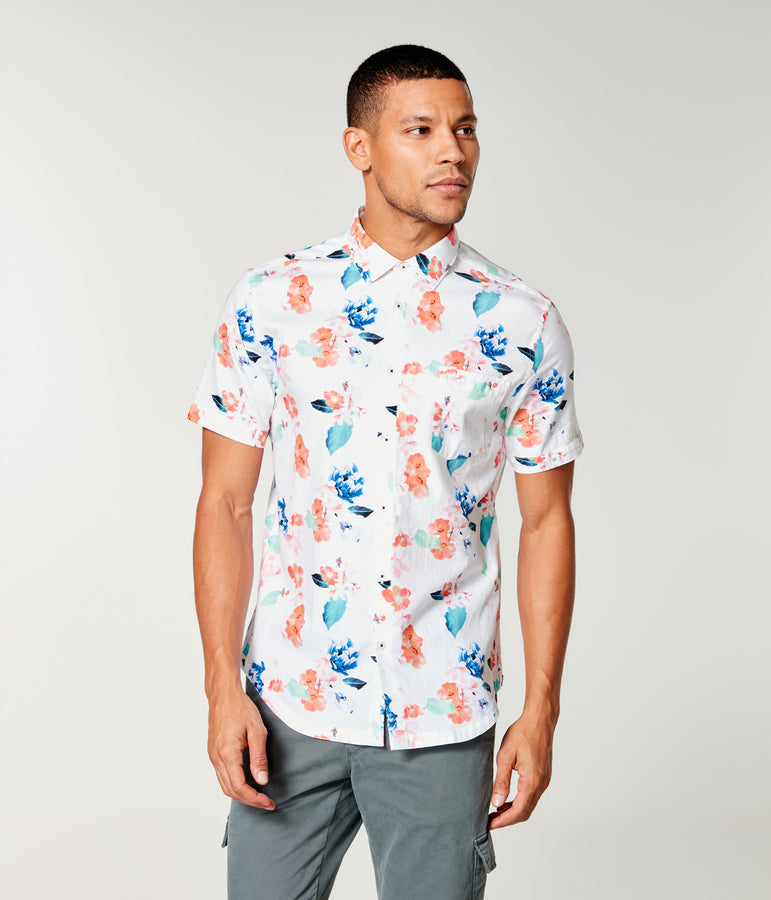 Woven On-Point Shirt - White Amalfi Floral - Good Man Brand