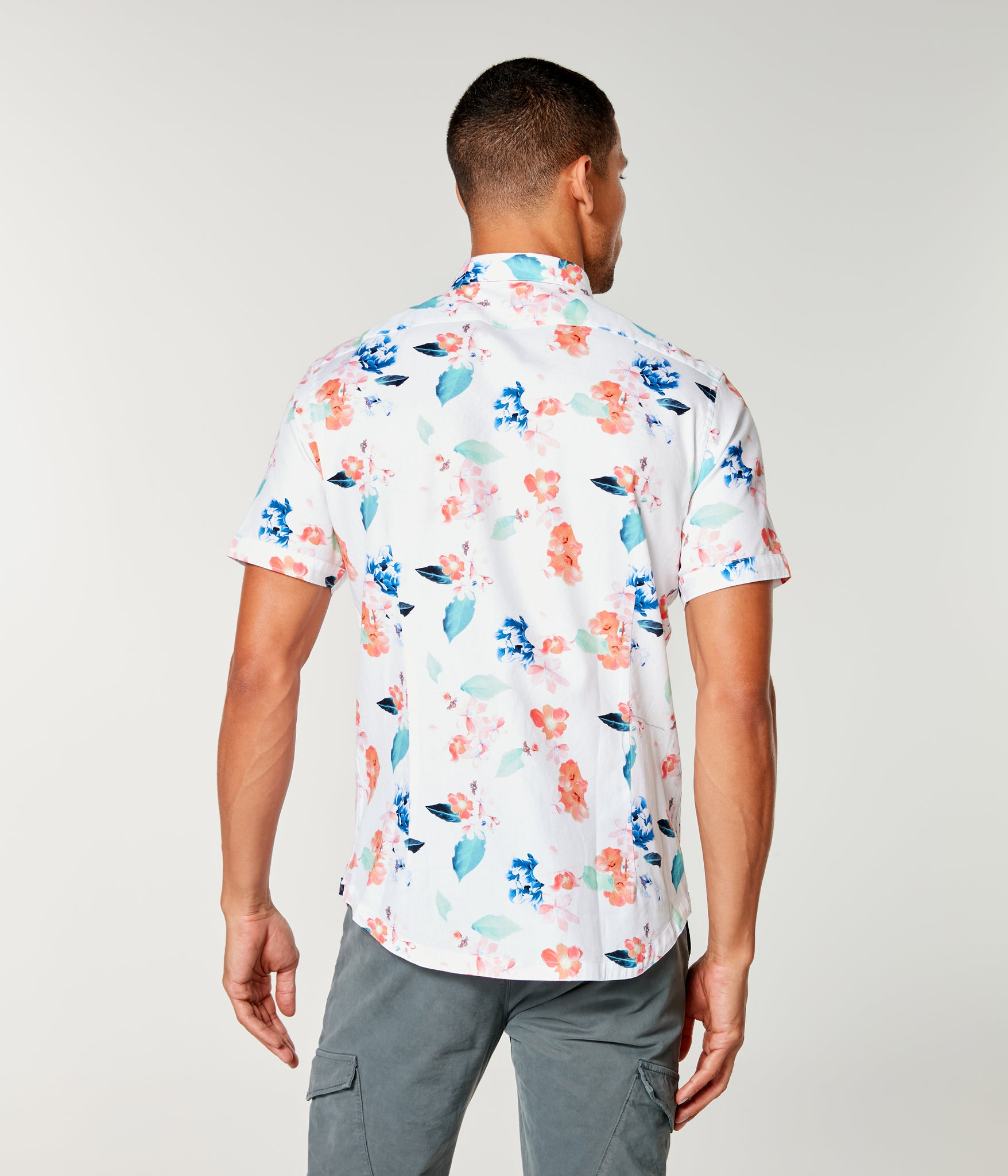 On-Point Print Shirt Short Sleeve - White Amalfi Floral