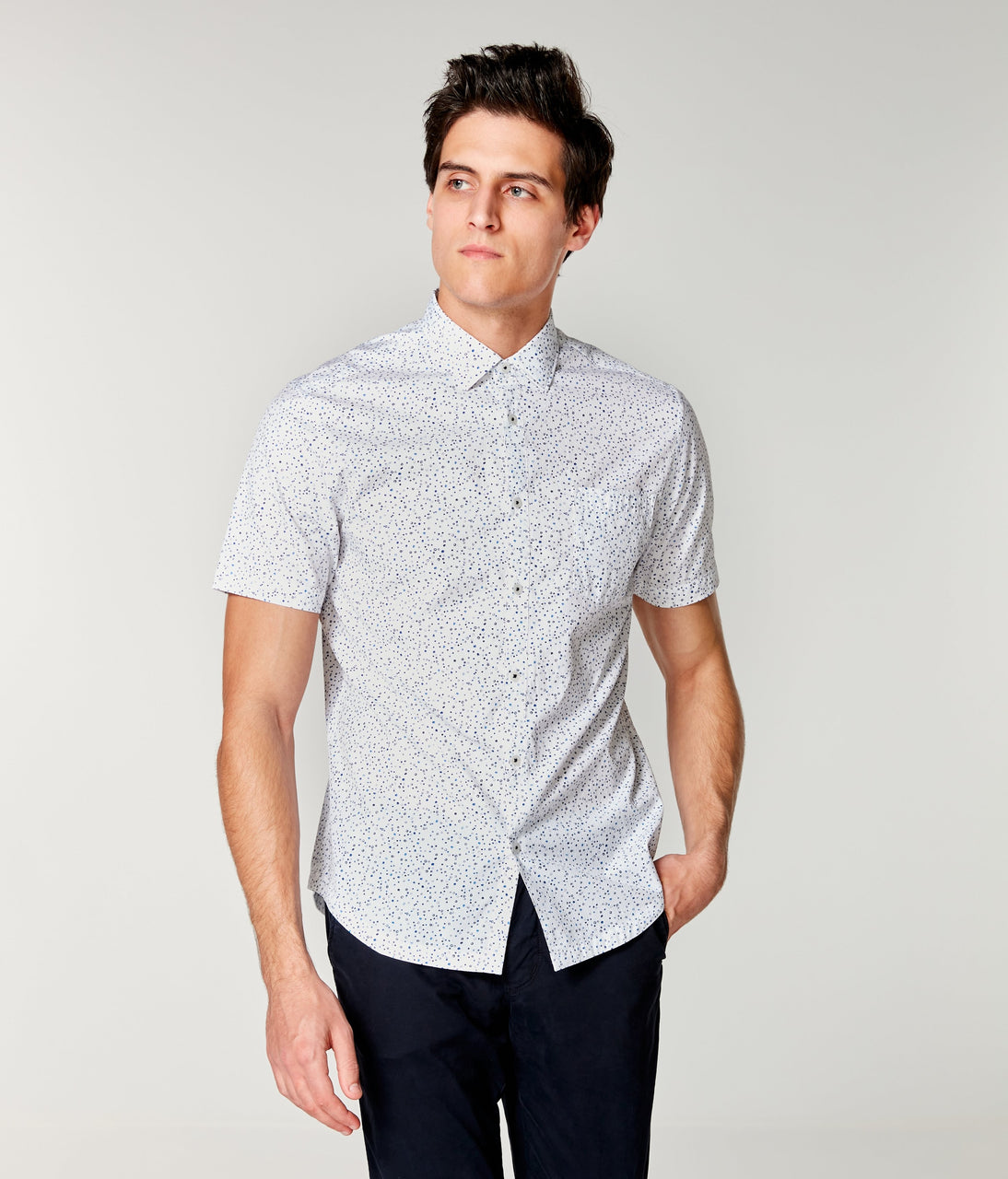 Woven On-Point Shirt - White Organic Micro Dot - Good Man Brand - On-Point Print Shirt Short Sleeve - White Organic Micro Dot