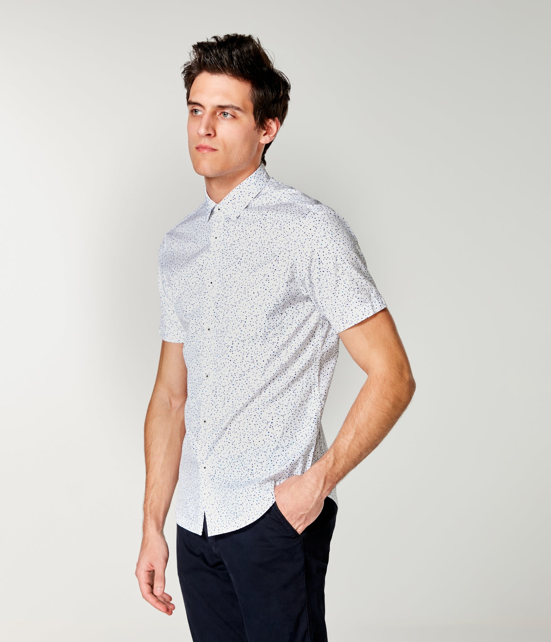 Woven On-Point Shirt - White Organic Micro Dot