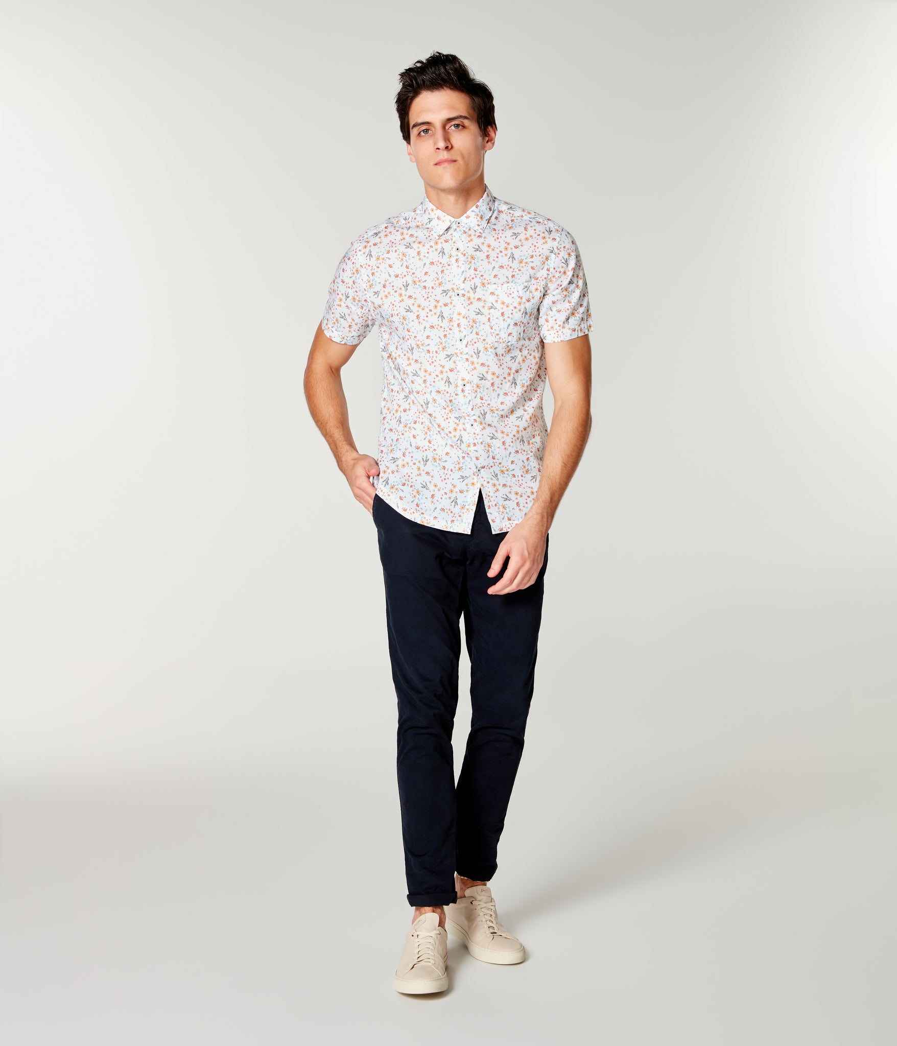 On-Point Print Shirt Short Sleeve - White Hanabira Blooms