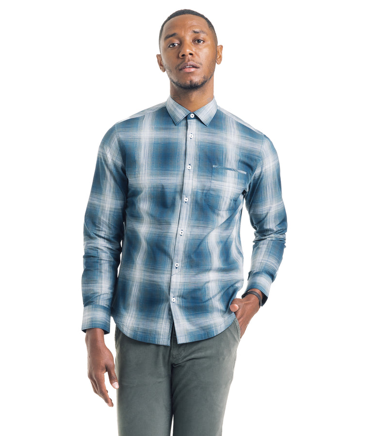 Bonsai Shadow Plaid Shirt - Sea - Good Man Brand