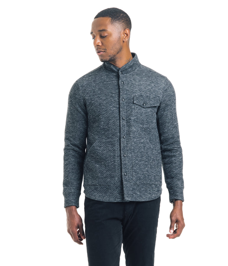 Shirt Jacket - Twill Quilt Jacquard - Charcoal Heather - Good Man Brand