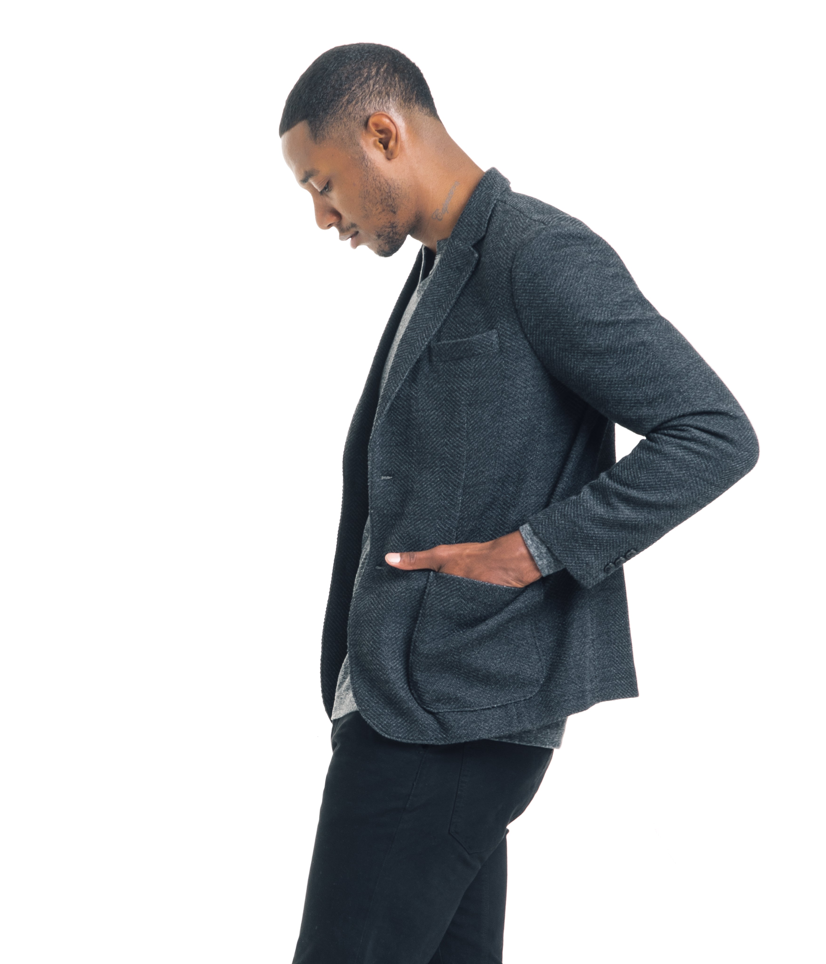 Double Face Herringbone Jersey Soft Blazer - Charcoal - Knitted Blazer - Good Man Brand