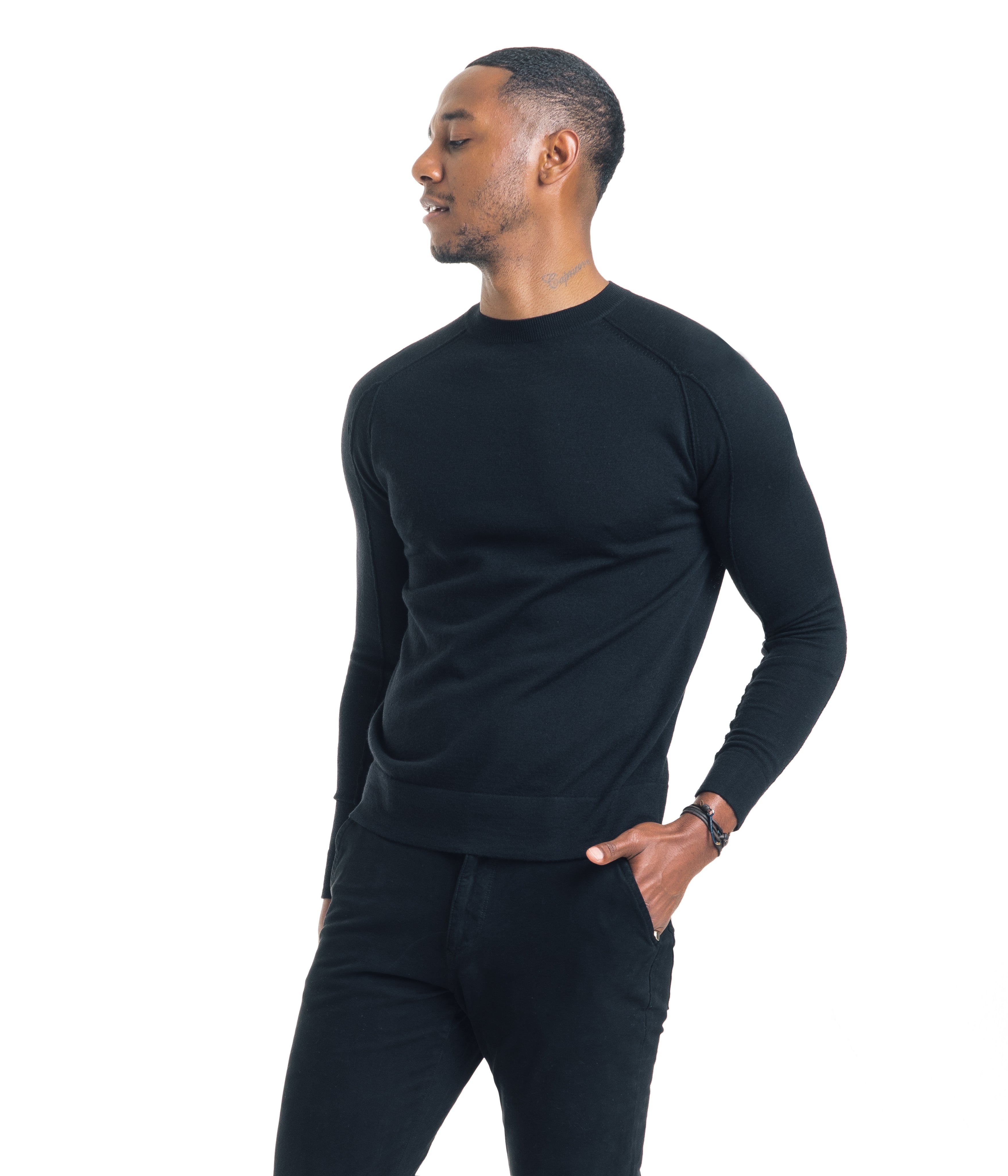 Modern Crew - Extrafine Merino - Black - Sweaters - Good Man Brand