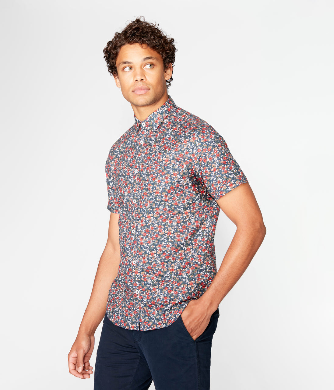 Woven On-Point Shirt - Navy Luxembourg Floral - Good Man Brand - Woven On-Point Shirt - Navy Luxembourg Floral