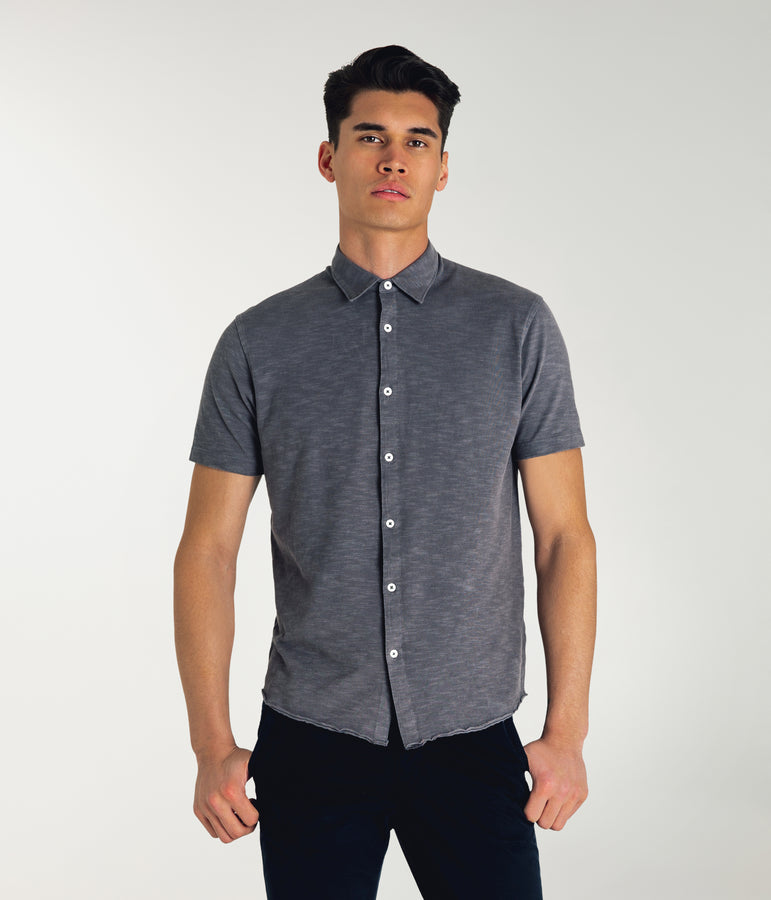 Soft Slub Jersey On-Point Shirt - Magnet - Good Man Brand