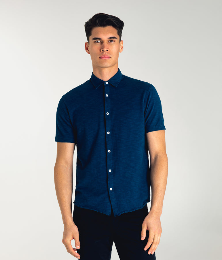 Soft Slub Jersey On-Point Shirt - Sea - Good Man Brand