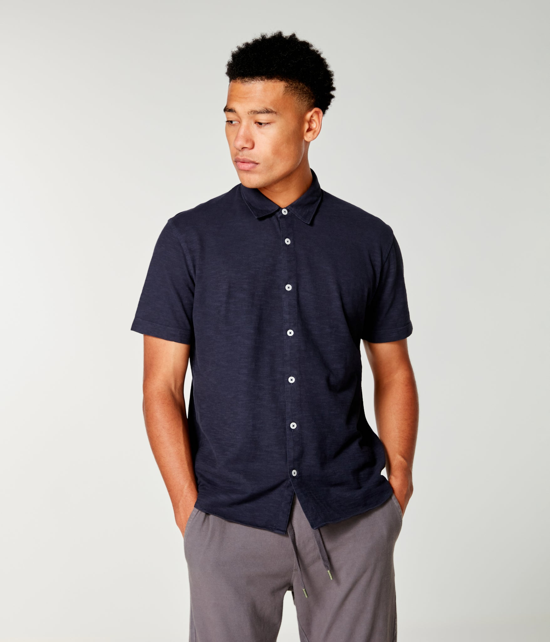 Soft Slub Jersey On-Point Shirt - Sky Captain