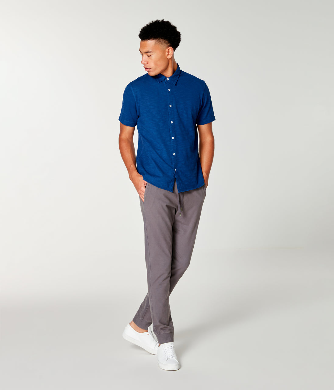 Soft Slub Jersey On-Point Shirt - Blue - Good Man Brand - Soft Slub Jersey On-Point Shirt - Blue