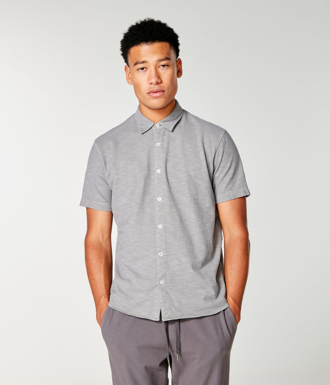 Soft Slub Jersey On-Point Shirt - Frost Grey - Good Man Brand - Slub Jersey Soft Shirt - Frost Grey