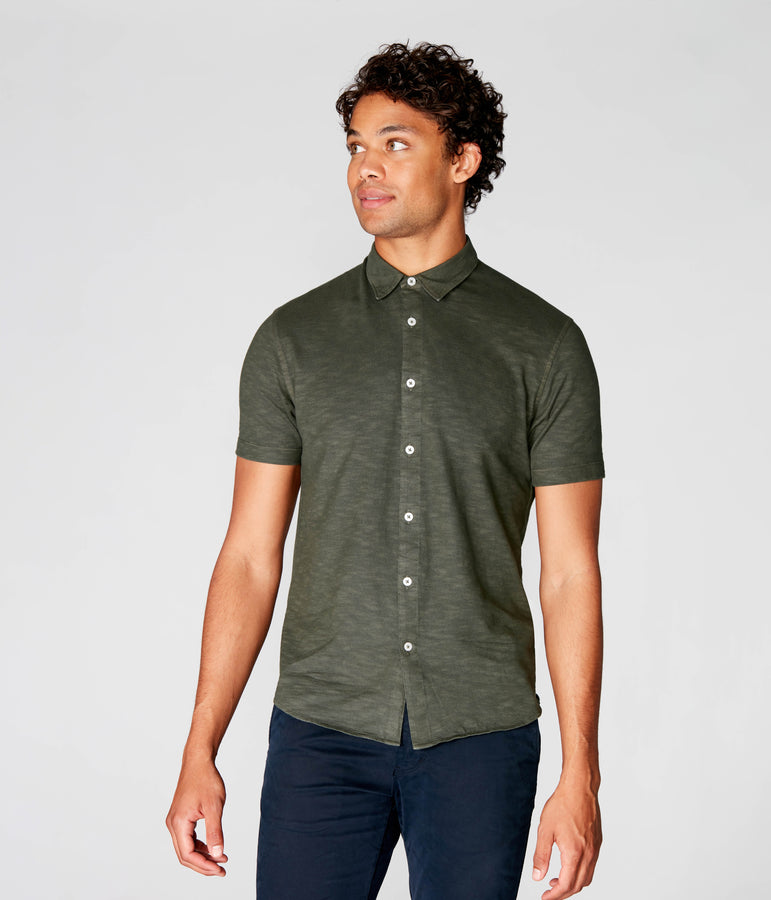 On-Point Soft Shirt in Soft Slub Jersey - Rifle Green Dark - Good Man Brand