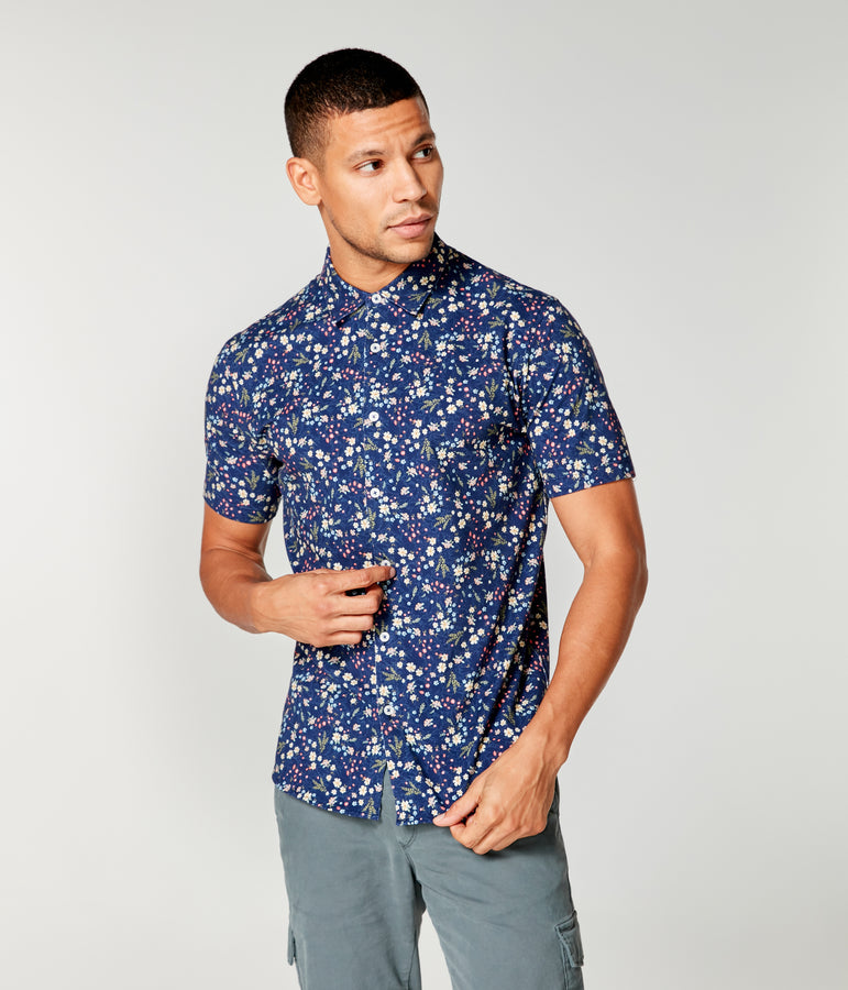 Flex Pro Jersey Printed Soft Shirt - Blue Hanabira Blooms - Good Man Brand