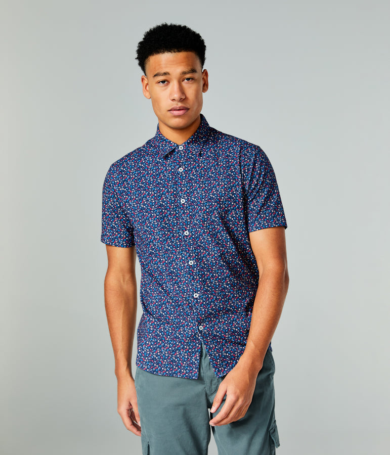 Flex Pro Jersey Printed Soft Shirt - Blue Meadow Daze - Good Man Brand