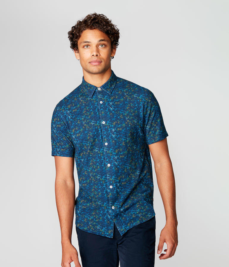 On-Point Soft Shirt in Soft Slub - Blue Pacific Stone Garden - Good Man Brand