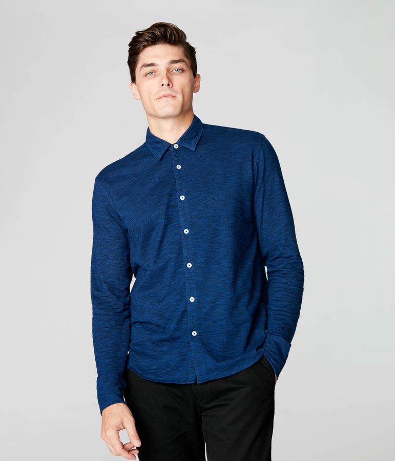 On-Point Soft Shirt in Black Marl Soft Slub - Blue - Good Man Brand