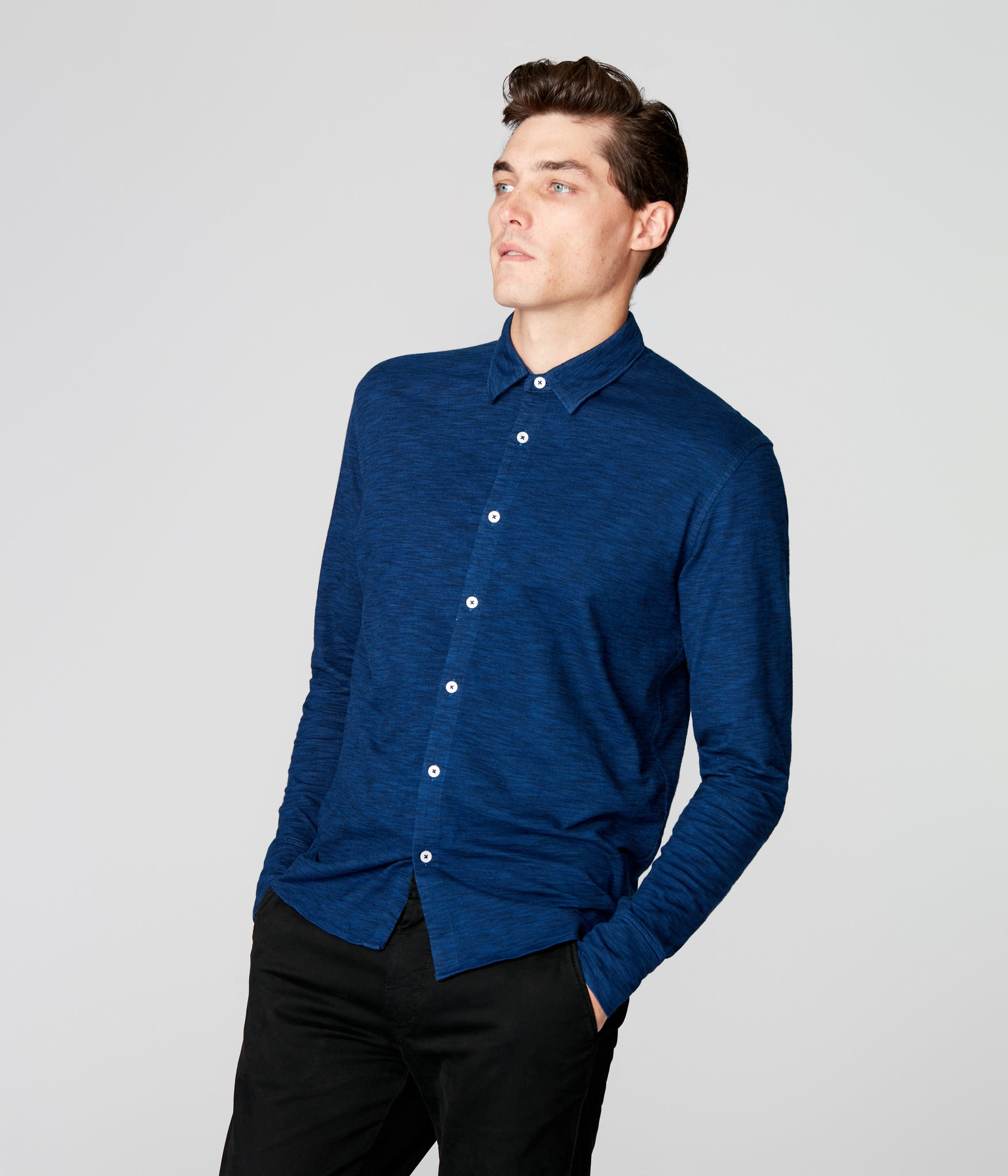 On-Point Soft Shirt in Black Marl Soft Slub - Blue