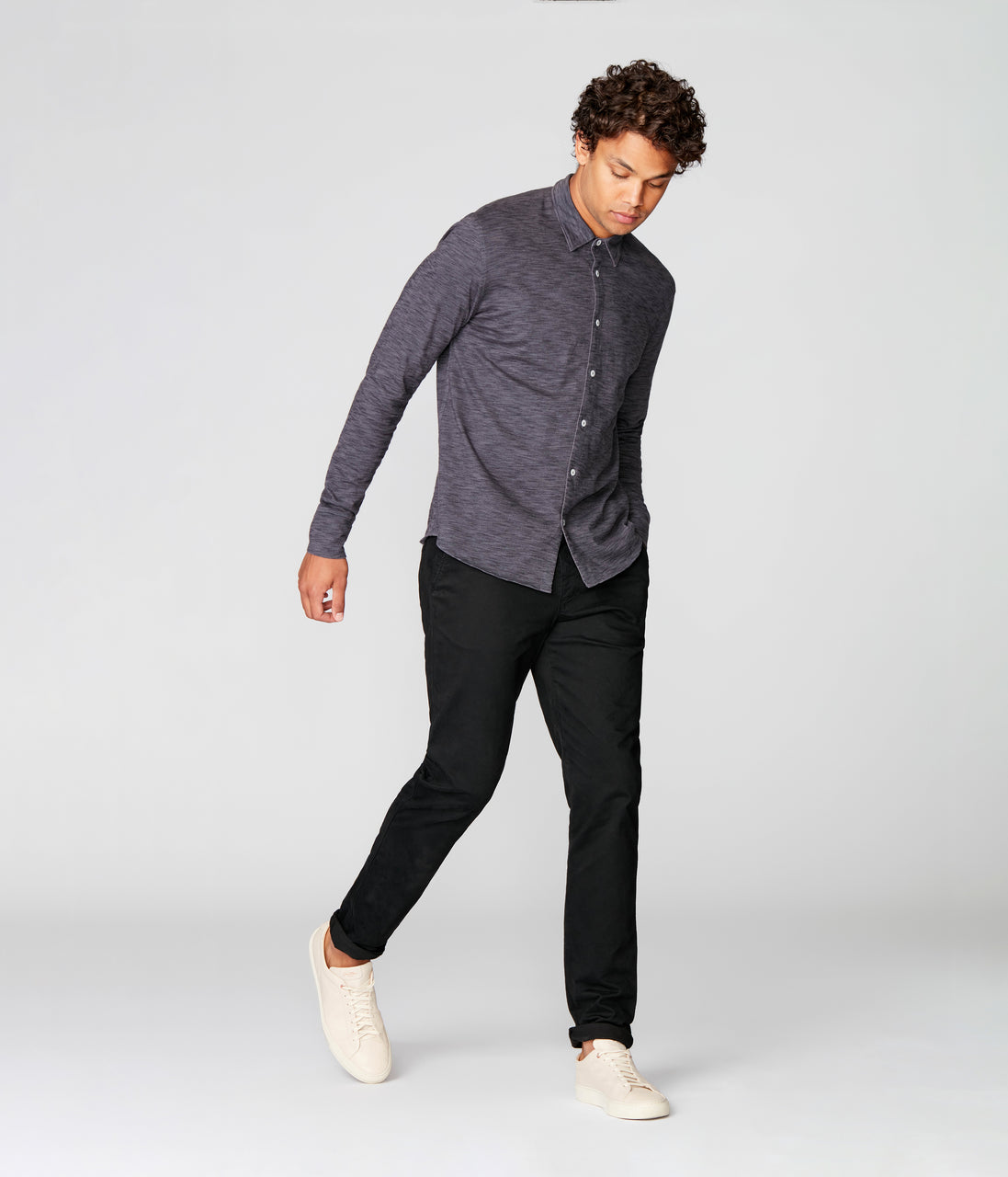 On-Point Soft Shirt in Black Marl Soft Slub - Magnet - Good Man Brand - On-Point Soft Shirt in Black Marl Soft Slub - Magnet