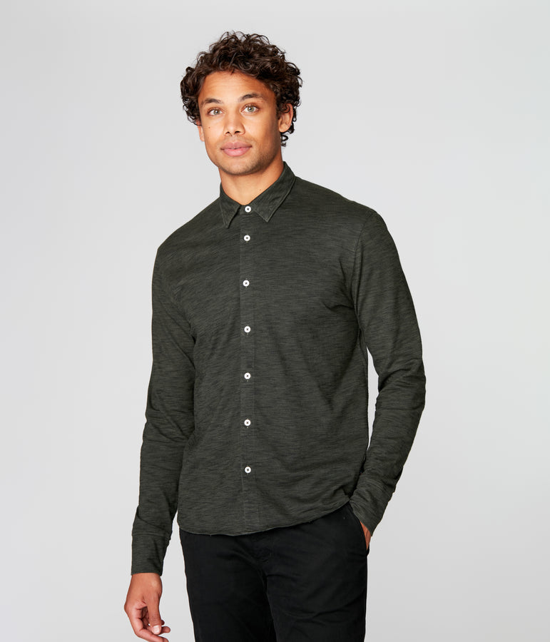 On-Point Soft Shirt in Black Marl Soft Slub - Rifle Green Dark - Good Man Brand