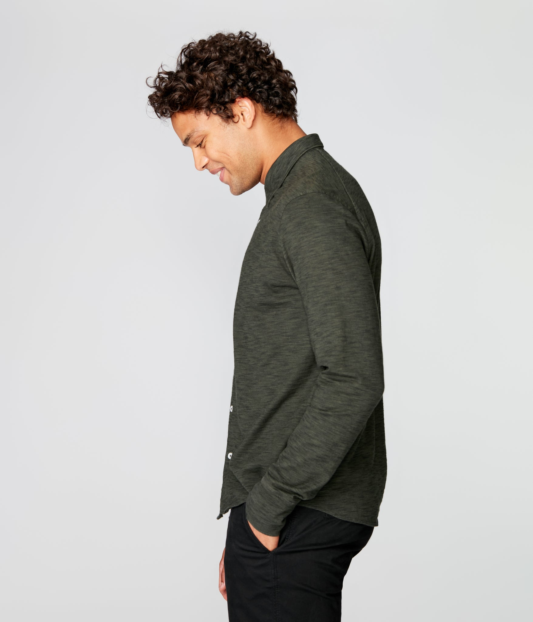 On-Point Soft Shirt in Black Marl Soft Slub - Rifle Green Dark