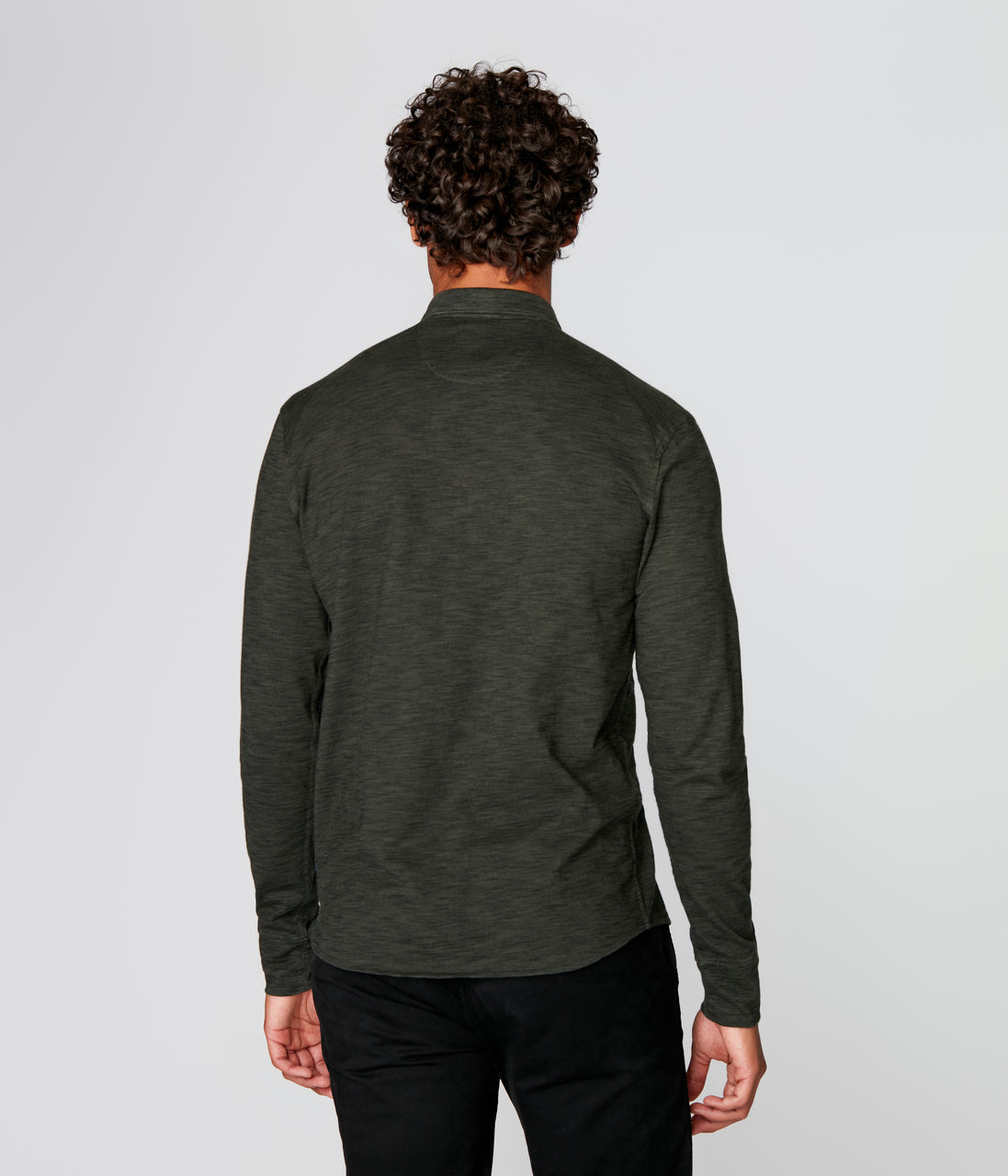 On-Point Soft Shirt in Black Marl Soft Slub - Rifle Green Dark - Good Man Brand - On-Point Soft Shirt in Black Marl Soft Slub - Rifle Green Dark