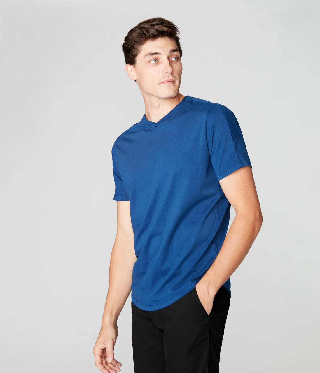 Hi Vee Tee in Premium Jersey - Blue - Good Man Brand - Hi Vee Tee in Premium Jersey - Blue