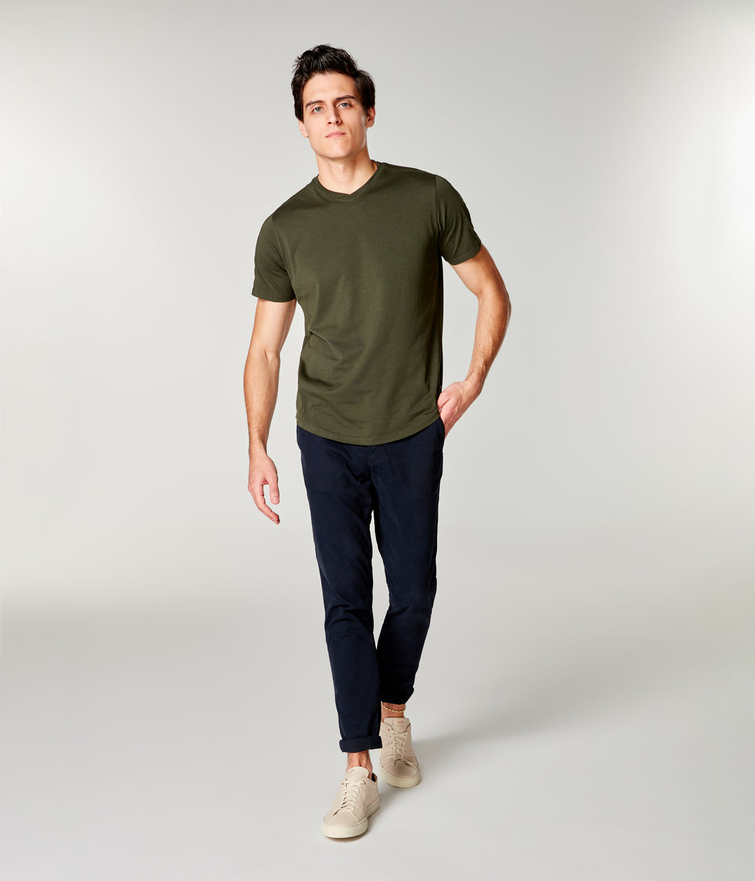 Premium Cotton Jersey Hi Vee Tee - Rifle Green - Good Man Brand - Premium Cotton Jersey Hi Vee Tee - Rifle Green